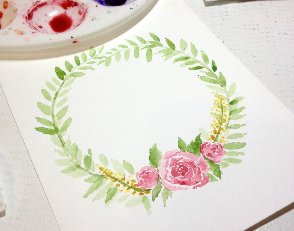 watercolor wreath flower and leaves