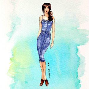 Chic Stylish Denim Onesie Fashion Illustration