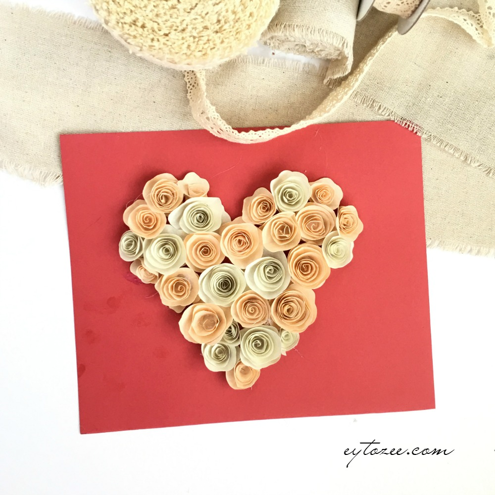 Heart filled with paper rosette