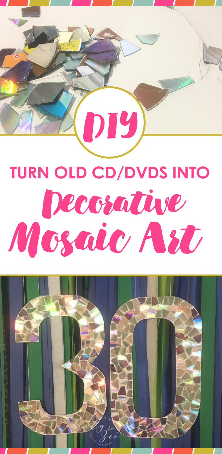 turn your old cd dvd into a decorative mosaic art. Black Bedroom Furniture Sets. Home Design Ideas