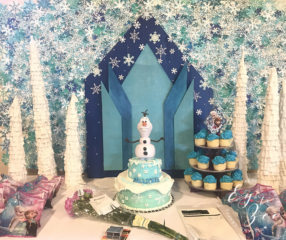 frozen themed party dessert table