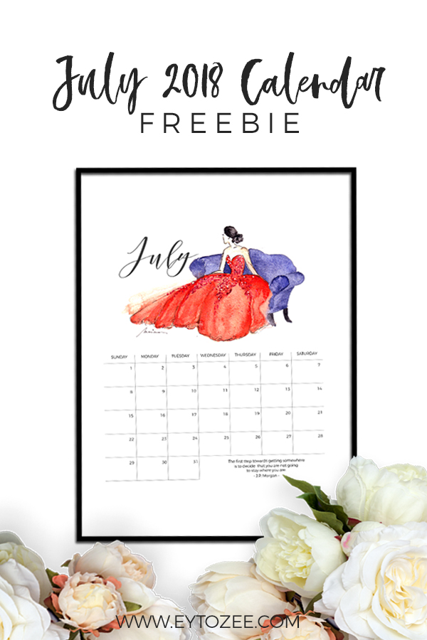 JULY 2018 CALENDAR FREEBIE PIN