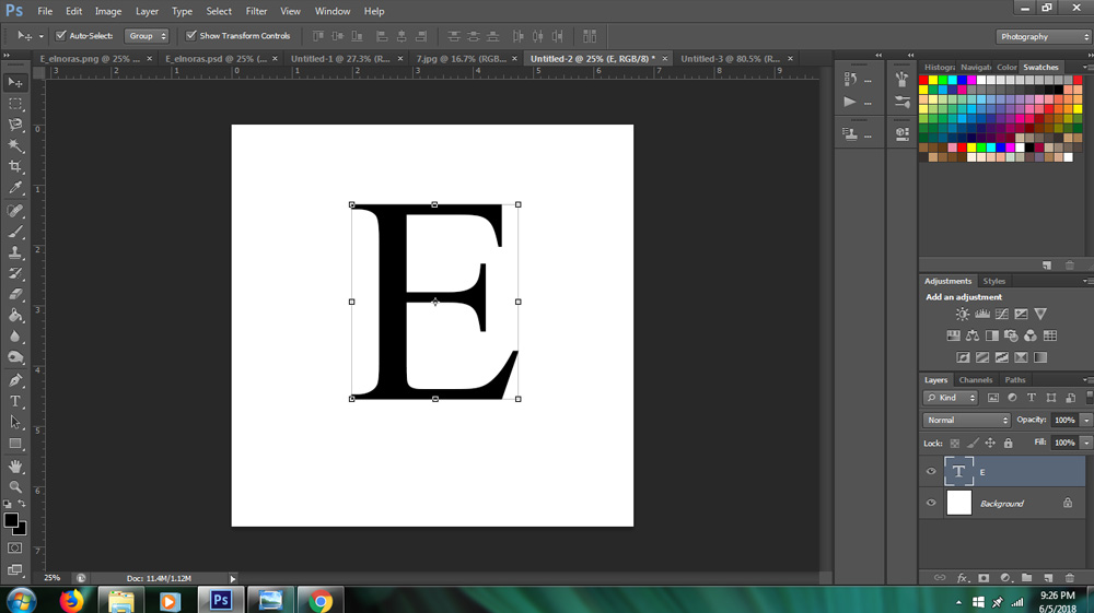 filling text with image in Photoshop