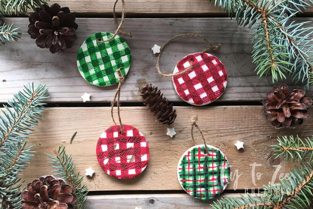 Plaid Christmas ornaments using air dry clay
